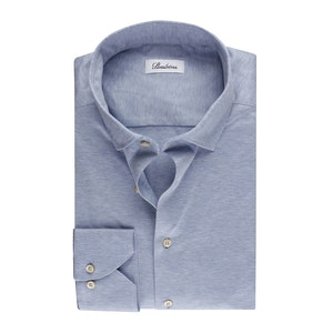 Light Blue Cotton Jersey Stretch Slimline Shirt