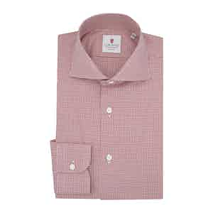 Red Cotton Micro Check Classic Shirt