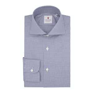 Blue Cotton Micro Check Classic Shirt