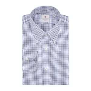 Blue Cotton Bicolor Check Classic Shirt