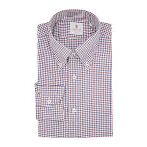 Red and Blue Cotton Bicolor Check Classic Shirt