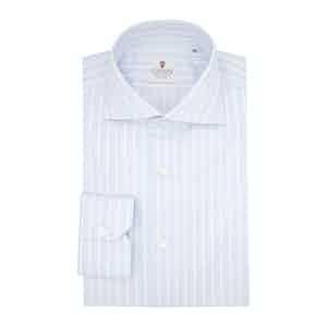 Light Blue Cotton Striped Zaffiro Classic Shirt