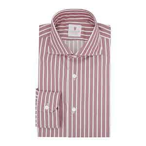 Burgundy Cotton Striped Zaffiro Classic Shirt