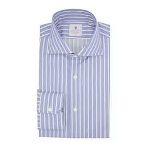 Blue Cotton Striped Zaffiro Classic Shirt
