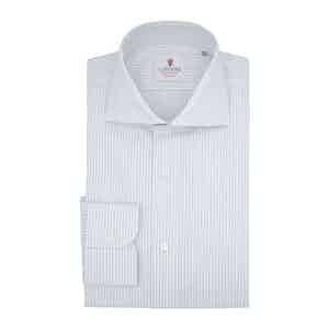 White and Blue Cotton Super Twill Striped Classic Shirt
