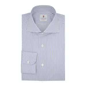 Blue and White Cotton Super Twill Striped Classic Shirt
