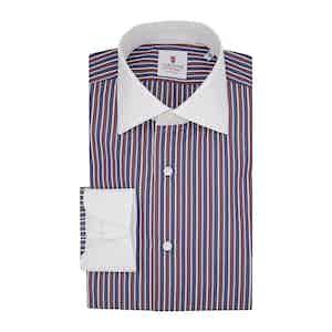 Burgundy Cotton Multi-Striped Contrast Classic Shirt