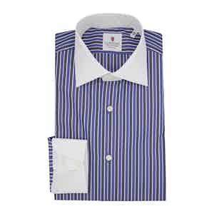 Blue Cotton Multi-Striped Contrast Classic Shirt