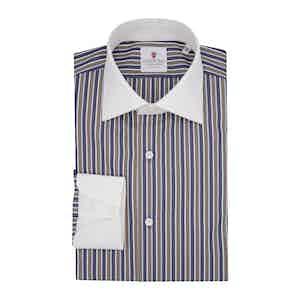Brown Cotton Multi-Striped Contrast Classic Shirt
