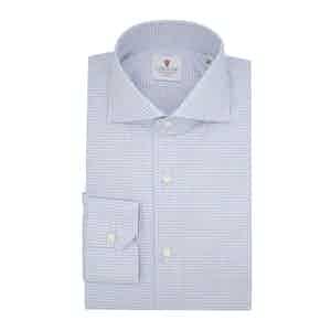 Light Blue Cotton Houndstooth Check Shirt