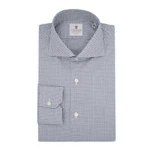 Dark Blue Cotton Houndstooth Check Shirt
