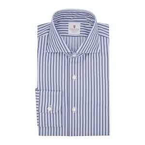 White and Blue Cotton Houston Striped Shirt