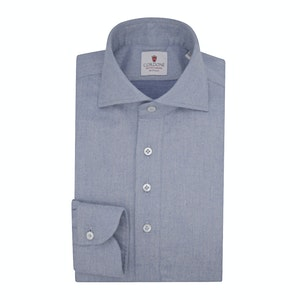 Blue Flannel Long-Sleeved Polo Shirt