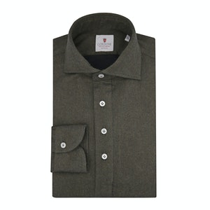 Green Flannel Long-Sleeved Polo Shirt