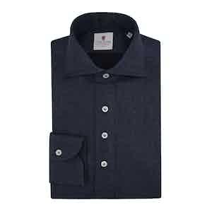 Dark Blue Flannel Long-Sleeved Polo Shirt