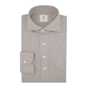 Beige Cashmere Blend Long-Sleeved Polo Shirt