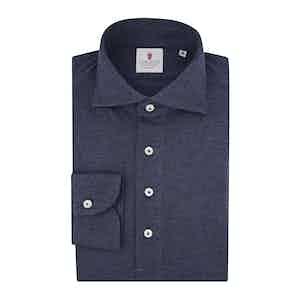 Blue Cashmere Blend Long-Sleeved Polo Shirt