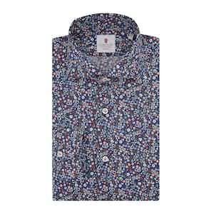 Navy Blue Cotton Floral Print Warhol Shirt