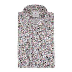 White Cotton Floral Print Warhol Shirt