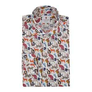 White Cotton Printed Wonderland Shirt
