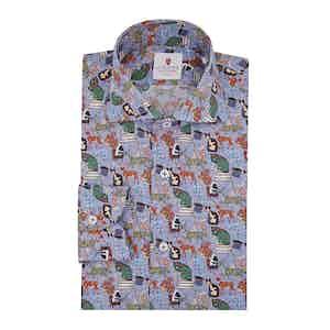 Blue Cotton Printed Wonderland Shirt