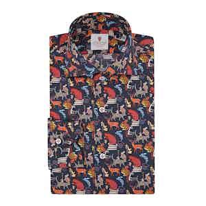 Dark Blue Cotton Printed Wonderland Shirt