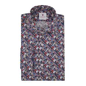 Blue Cotton Floral Printed Monet Shirt