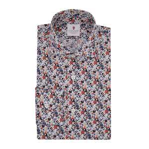 White Cotton Floral Printed Monet Shirt