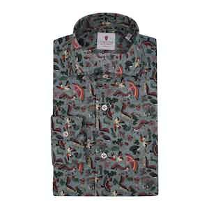 Grey Cotton Printed Sherwood Shirt