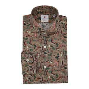 Brown Cotton Printed Sherwood Shirt