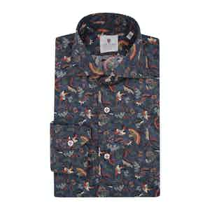 Blue Cotton Printed Sherwood Shirt