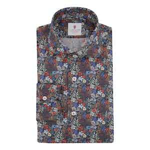 Black Cotton Printed Dandelion Shirt