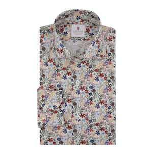 White Cotton Printed Dandelion Shirt