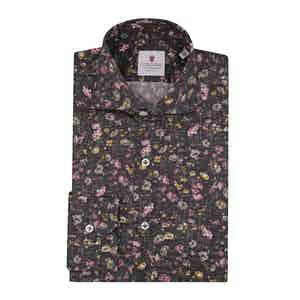 Brown Cotton Floral Printed Van Gogh Shirt