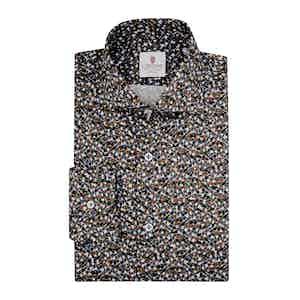 Beige Cotton Floral Printed Klimt Shirt