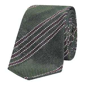 Green & Burgundy Silk-Cotton Tie