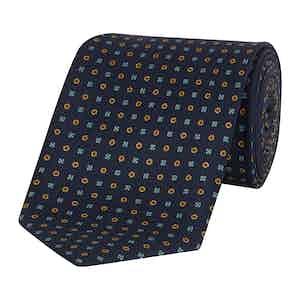 Blue Daisy Patterned Silk-Cotton Tie