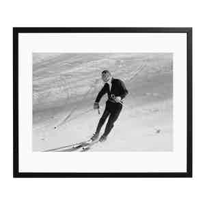 Agnelli Hits the Slopes Black and White Print