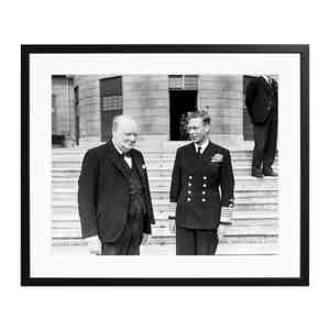 Winston Churchill and King George VI Black and White Print