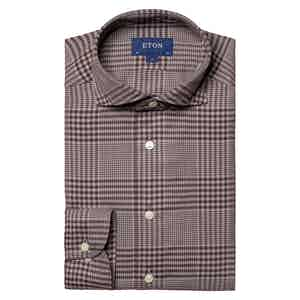 Brown Cotton-Tencel™ Flannel Checked Contemporary Fit Shirt