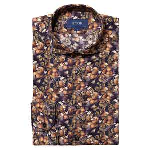 Dark Blue Cotton-Tencel™️ Nature Print Contemporary Fit Shirt