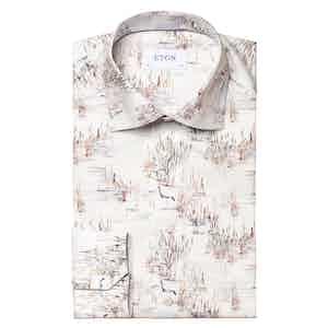 Blue and White Cotton Twill Crane Print Signature Slim Fit Shirt