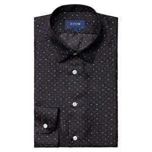 Navy Silk Twill Polka Dots Shirt