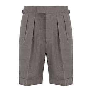 Brown Mesh Wool Aleks Shorts