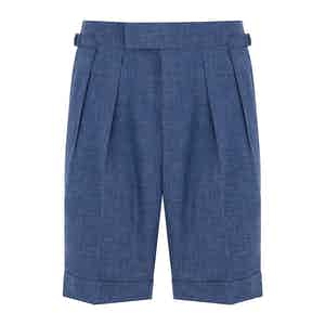 Blue Mesh Wool Aleks Shorts