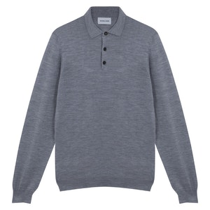 Grey Merino Wool, Silk and Cashmere Long-Sleeved Polo Shirt