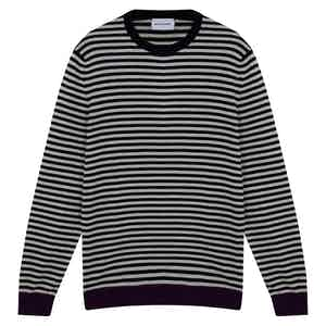 White and Blue Cashmere Horizontal Striped Sweater