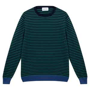 Green and Blue Cashmere Horizontal Striped Sweater