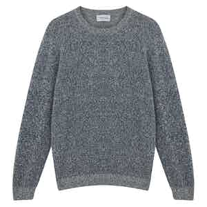 Le Blue Merino Wool Seamless Boucle Crewneck Sweater