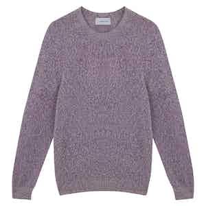 Cyclamin Pink Merino Wool Seamless Boucle Crewneck Sweater